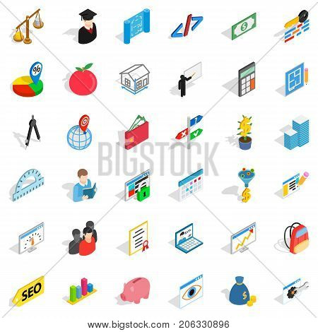 Numerator icons set. Isometric style of 36 numerator vector icons for web isolated on white background
