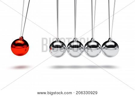Balancing balls newton's cradle. Business teamwork concept. 3d rendering illustration isolated