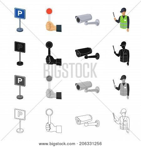 Equipment, direction, rules and other  icon in cartoon style.Regulator, stick, road, icons in set collection.