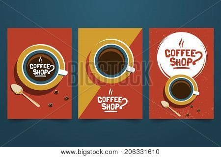 Coffee shop retro minimalist poster set. Logo, cup and grains top view. Decorative element for coffee house. Applicable for advertising banner,menu, flyer. A4 size. Vector illustration.