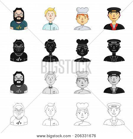Vocation, profession, Hobby and other  icon in cartoon style.Hat, overalls, education, icons in set collection.