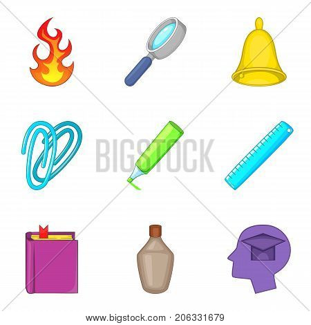Opiate icons set. Cartoon set of 9 opiate vector icons for web isolated on white background