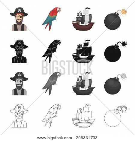 Attack, history, travel and other  icon in cartoon style. Mine, fire, explosion, icons in set collection.