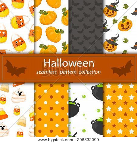 Set paintings on a hilarious Halloween . Eight seamless fabrics under the clipping Maski. The cartoon drawings . Stock vector.