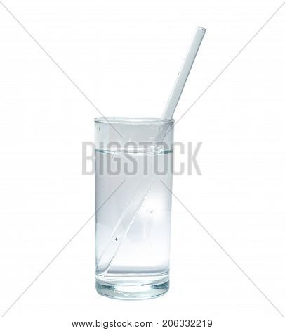 isolated glass of pure water with glass drinking straw. object beverage.