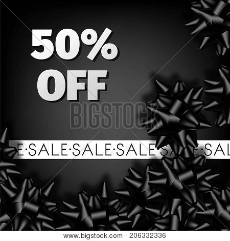 Sale discount promo offer black poster or web banner design template for Black Friday seasonal advertising flyer and price off coupon. Vector 50 percent off sale gift bow ribbons on premium background