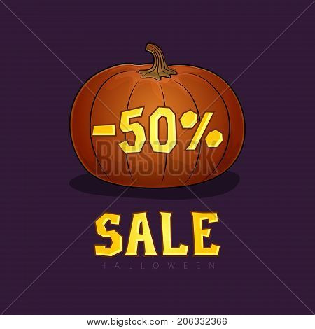 Pumpkin with a Discount Fifty Percent Halloween Sale Banner with Discounts Digits for the Holiday Vector Illustration