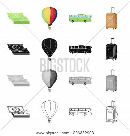 Trip, travel, entertainment and other  icon in cartoon style.Wheels, pen, capacity icons in set collection.