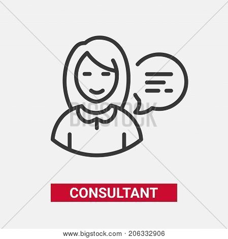 Consultant - modern vector single line design icon. An image of a friendly female ready to help her clients with good service, speech bubble. Support, helpdesk presentation.