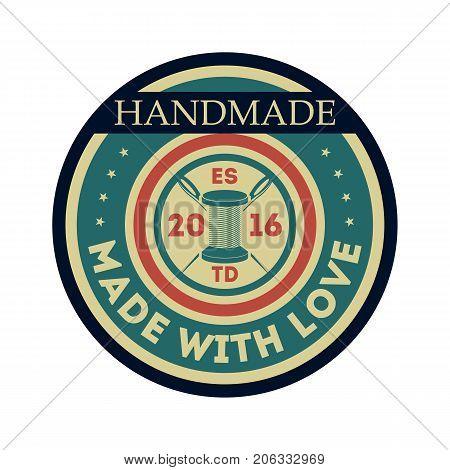 Handmade studio vintage isolated label. Custom clothing shop badge, fashion dress logo, tailoring symbol vector illustration
