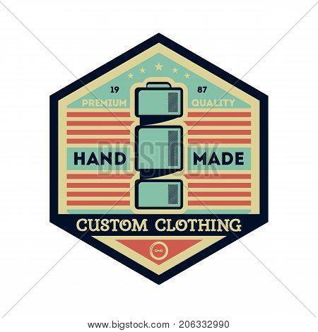 Custom clothing studio vintage isolated label. Tailor shop badge, handmade dress logo, tailoring symbol vector illustration