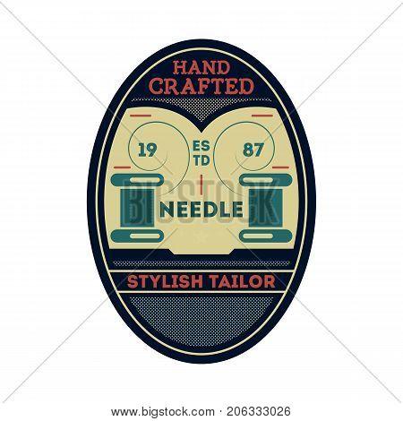 Needle stylish tailor vintage isolated label. Custom clothing shop badge, fashion dress logo, tailoring symbol vector illustration