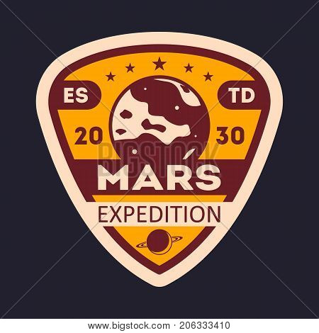 Martian research vintage isolated label. Scientific odyssey symbol, modern spacecraft flying, planet colonization vector illustration.