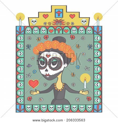 Colorful vector illustration in Mexican Day of the Dead style with beautiful sugar skull woman and religious ornaments frame