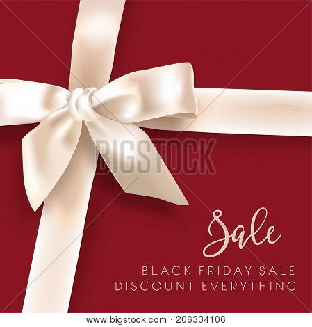 Black Friday sale discount promo offer poster or advertising flyer and coupon. Vector design of white gift or bow and sale ribbon on premium fashion red shop background