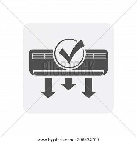 Quality control at home icon with conditioner sign. Quality management of building construction pictogram isolated vector illustration.
