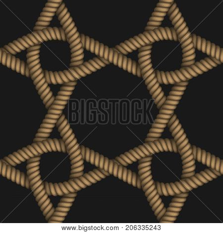 Realistic seamless pattern of fabric braided colorful cords. Vector illustration