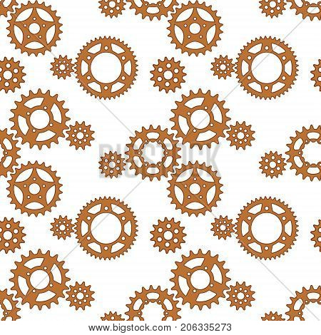 Gears and sprockets seamless vector pattern with a transparent background