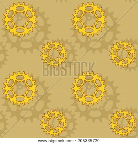 Golden gears and sprockets seamless vector pattern