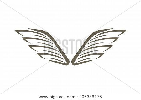 Decorative wings emblem isolated on white background vector illustration. Winged design elements for company logo or brand.
