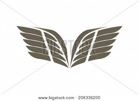 Fly wings emblem isolated on white background vector illustration. Winged design elements for company logo or brand.