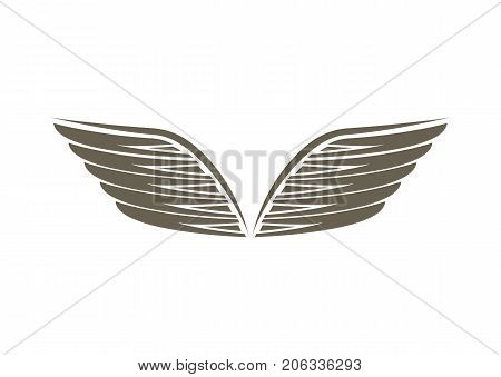 Angel wings emblem isolated on white background vector illustration. Winged design elements for company logo or brand.