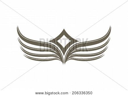 Fantasy wings emblem isolated on white background vector illustration. Winged design elements for company logo or brand.