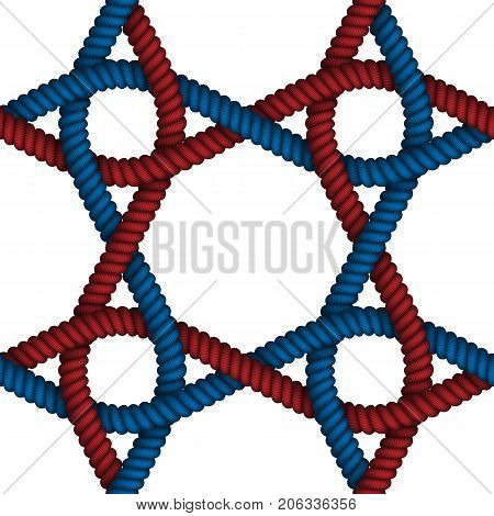 Realistic seamless pattern of fabric braided colorful cords on isolated background. Vector illustration