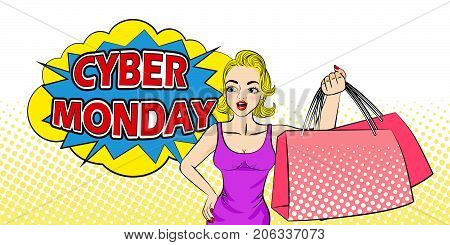woman with cyber monday on the yellow background