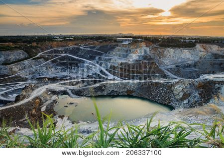 opencast mining quarry with beautiful sunlight .