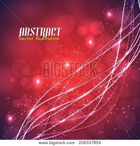 Abstract red background with blurred lights and curved glowing white lines with sparkles vector illustration