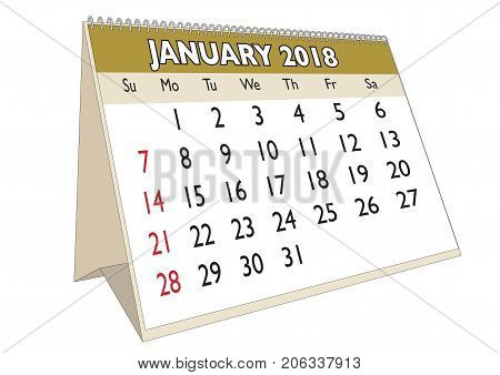 Desk Calendar January 2018