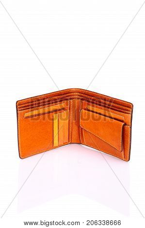 One purse, genuine leather with embossing ,black brown colors,Fashionable men's accessory To store money on a white background