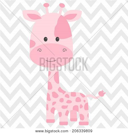 Cute pink giraffe isolated on background in vector
