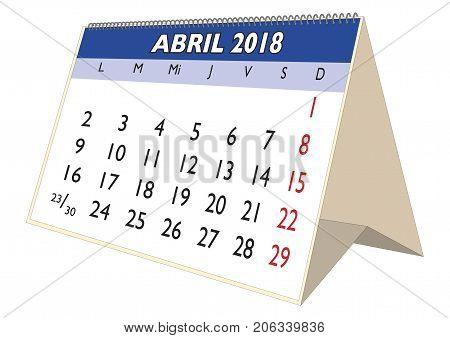 April 2018 Desk Calendar In Spanish Abril 2018
