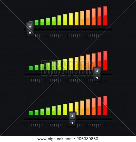 Volume slider. From minimum to maximum level. Black interface. Vector 3d illustration