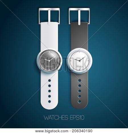 Classic swiss watches with white gray leather wristbands and dials in realistic style isolated vector illustration