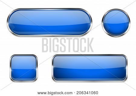 Blue glass buttons with chrome frame. Vector 3d illustration isolated on white background