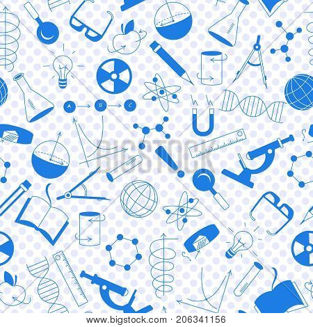 Seamless pattern on the theme of science and inventions diagrams charts and equipment a blue silhouettes of icons on the background of polka dots