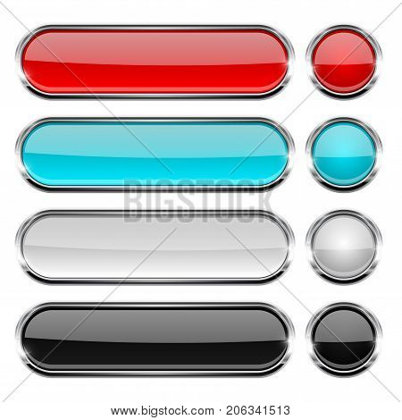 Colored collection of oval and round glass buttons with chrome frame. Vector 3d illustration isolated on white background