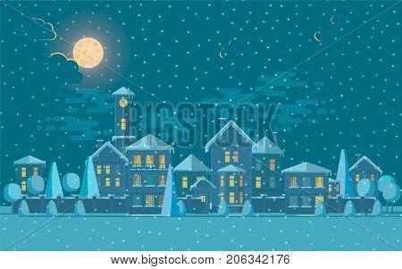 Vector illustration of cute tower under snowfall at night.