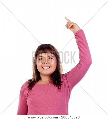 Pretty child asking to speak isolated on a white background