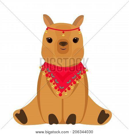 Vector cute Alpaca llama animal. Vector flat for print.