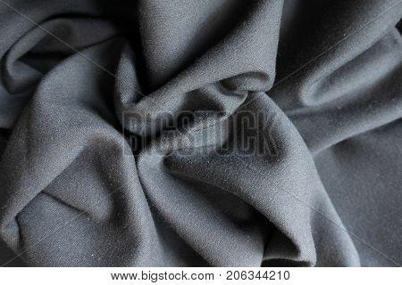 Dark Grey Viscose Fabric In Soft Folds