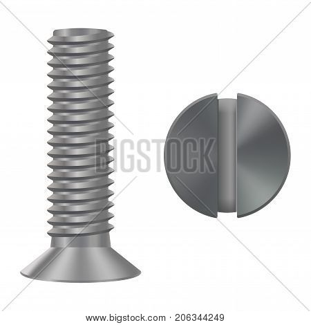 Countersunk metal bolt screw. Vector 3d illustration isolated on white background
