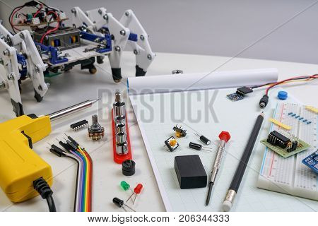 Stem Or Diy Electronic Kit , Line Tracking Walking Robot Competition Ideas. Diy Robot Engineer Made