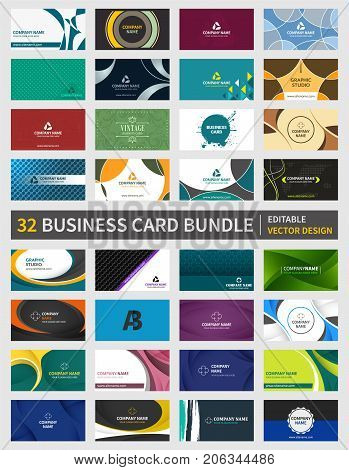 Set of 32 creative business card bundle. Editable vector design for your personal or business presentation.