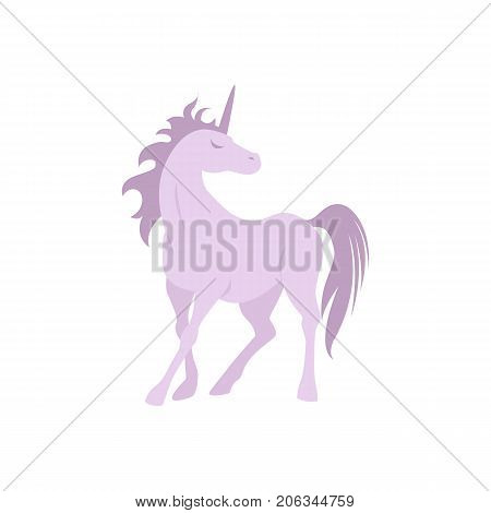 Vector silhouette unicorn image. Element for design. Violet cute silhouette unicorn. Fairy magic element, isolated vector object, flat design illustration. Beautiful horse with horn