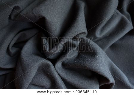 Simple Black Viscose Fabric In Soft Folds