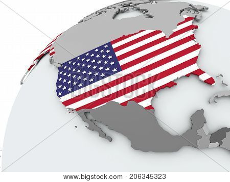 Flag Of Usa On Grey Globe